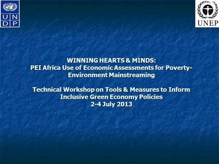 WINNING HEARTS & MINDS: PEI Africa Use of Economic Assessments for Poverty- Environment Mainstreaming Technical Workshop on Tools & Measures to Inform.