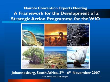 UNEP/GEF WIO-LaB Project1 Nairobi Convention Experts Meeting A Framework for the Development of a Strategic Action Programme for the WIO Johannesburg,