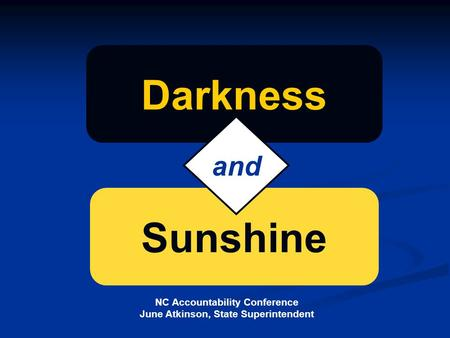 NC Accountability Conference June Atkinson, State Superintendent Sunshine Darkness and.