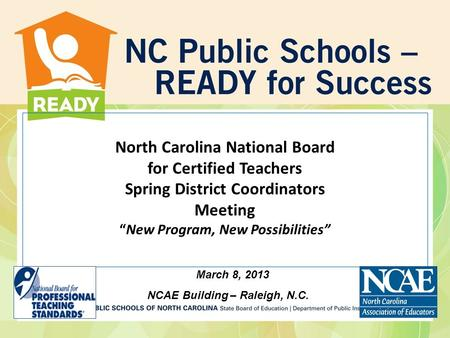 North Carolina National Board for Certified Teachers Fall District ...
