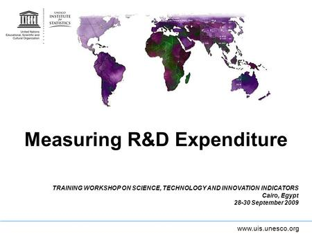 Www.uis.unesco.org Measuring R&D Expenditure TRAINING WORKSHOP ON SCIENCE, TECHNOLOGY AND INNOVATION INDICATORS Cairo, Egypt 28-30 September 2009.