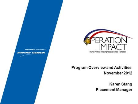 Program Overview and Activities November 2012 Karen Stang Placement Manager.