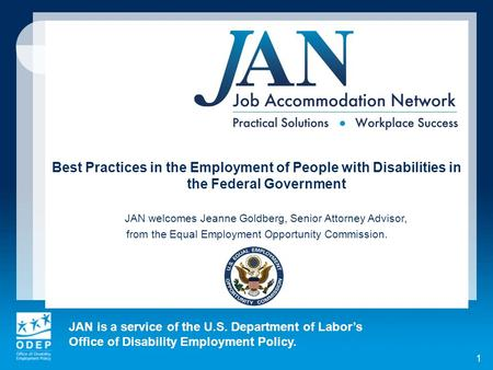 JAN is a service of the U.S. Department of Labors Office of Disability Employment Policy. 1 Best Practices in the Employment of People with Disabilities.
