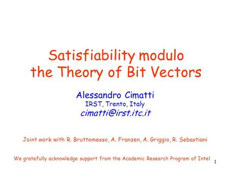 Satisfiability modulo the Theory of Bit Vectors