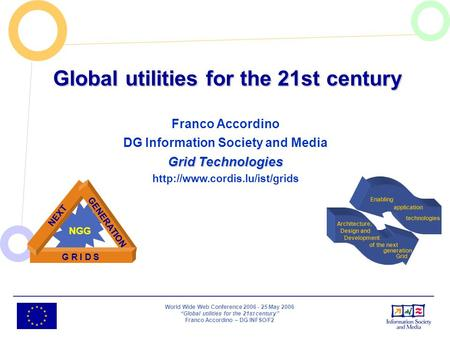 World Wide Web Conference 2006 - 25 May 2006 Global utilities for the 21st century Franco Accordino – DG INFSO/F2 Global utilities for the 21st century.