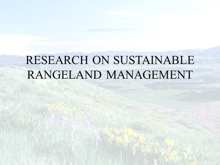 RESEARCH ON SUSTAINABLE RANGELAND MANAGEMENT. Research Needs in the 21 st Century 1.Does the indicator assess the criterion? 2.At what scales are the.