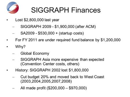 SIGGRAPH Finances Lost $2,800,000 last year – SIGGRAPH 2009 - $1,900,000 (after ACM) – SA2009 - $530,000 + (startup costs) For FY 2011 are under required.