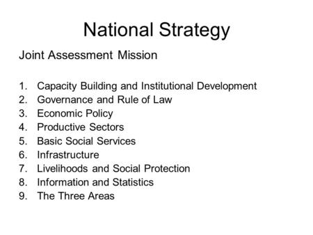 National Strategy Joint Assessment Mission 1.Capacity Building and Institutional Development 2.Governance and Rule of Law 3.Economic Policy 4.Productive.