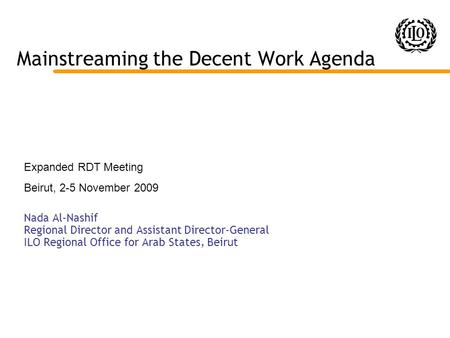 Mainstreaming the Decent Work Agenda