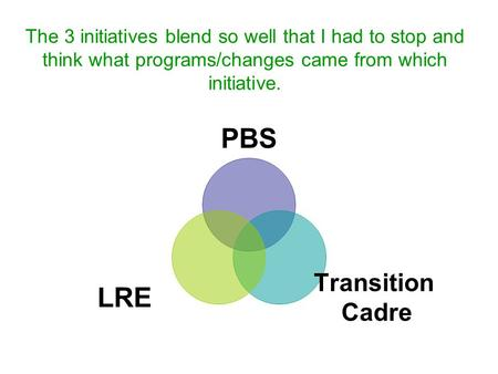 The 3 initiatives blend so well that I had to stop and think what programs/changes came from which initiative. PBS Transition Cadre LRE.
