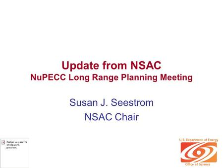 Update from NSAC NuPECC Long Range Planning Meeting Susan J. Seestrom NSAC Chair U.S. Department of Energy Office of Science.