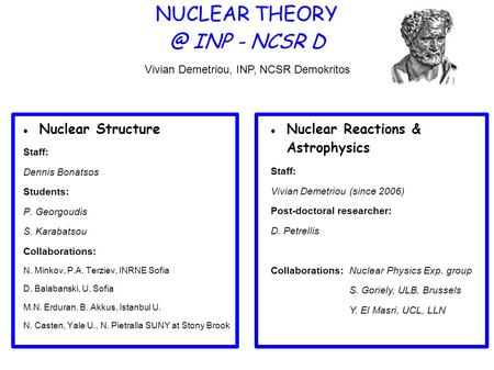 NUCLEAR INP - NCSR D Nuclear Structure Staff: Dennis Bonatsos Students: P. Georgoudis S. Karabatsou Collaborations: N. Minkov, P.A. Terziev, INRNE.
