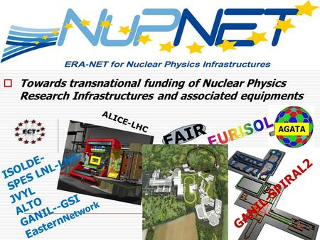 Towards transnational funding of Nuclear Physics Research Infrastructures and associated equipments AGATA ISOLDE- SPES LNL-LNS- JVYL ALTO GANIL--GSI Eastern.