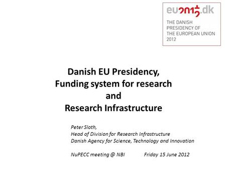 Funding system for research Research Infrastructure