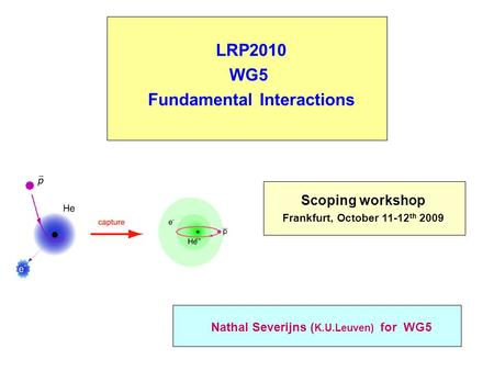 LRP2010 WG5 Fundamental Interactions Nathal Severijns ( K.U.Leuven) for WG5 Scoping workshop Frankfurt, October 11-12 th 2009.