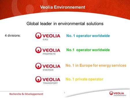 1 4 divisions: No. 1 operator worldwide No. 1 private operator No. 1 in Europe for energy services Veolia Environnement Global leader in environmental.