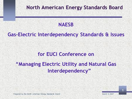 March 5, 2007 Prepared by the North American Energy Standards Board 1 North American Energy Standards Board NAESB Gas-Electric Interdependency Standards.