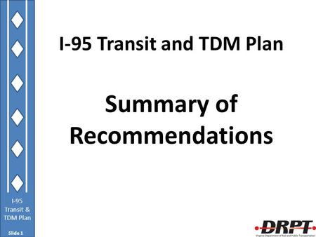 I-95 Transit & TDM Plan I-95 Transit and TDM Plan Summary of Recommendations Slide 1.