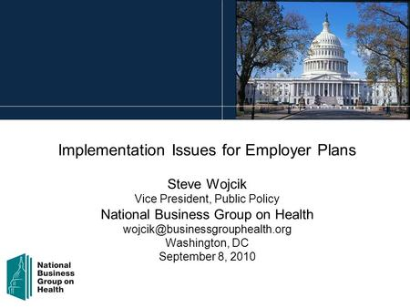 Implementation Issues for Employer Plans Steve Wojcik Vice President, Public Policy National Business Group on Health Washington,