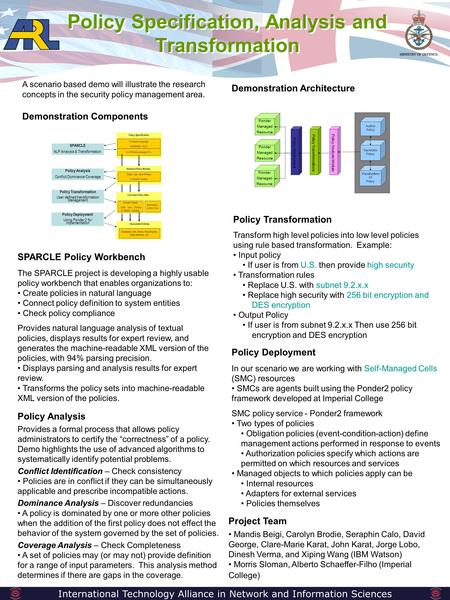 Policy Specification, Analysis and Transformation International Technology Alliance in Network and Information Sciences A scenario based demo will illustrate.