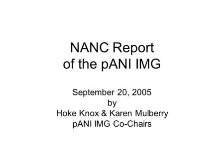NANC Report of the pANI IMG September 20, 2005 by Hoke Knox & Karen Mulberry pANI IMG Co-Chairs.