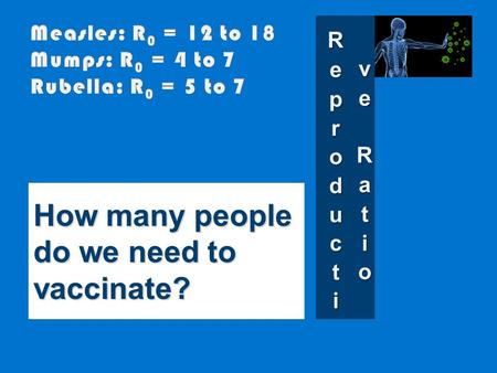 How many people do we need to vaccinate?. Suppose R 0 = 10 How many new infections result from each infected person on average? 10 So how many people.