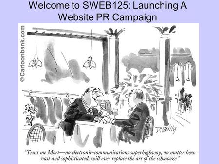 Welcome to SWEB125: Launching A Website PR Campaign.