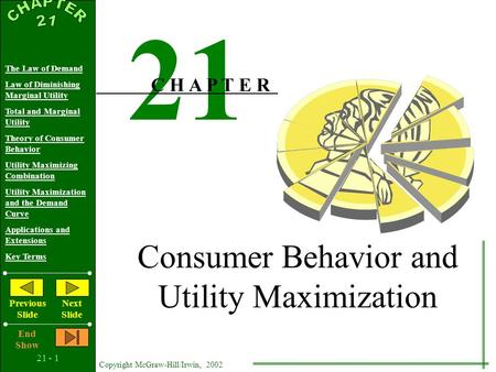 21 - 1 Copyright McGraw-Hill/Irwin, 2002 The Law of Demand Law of Diminishing Marginal Utility Total and Marginal Utility Theory of Consumer Behavior.