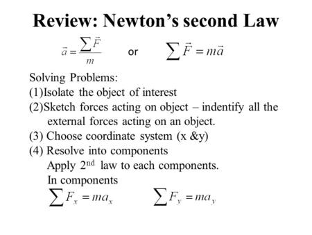Review: Newtons second Law or Solving Problems: (1)Isolate the object of interest (2)Sketch forces acting on object – indentify all the external forces.