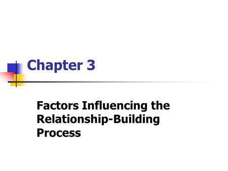 Chapter 3 Factors Influencing the Relationship-Building Process.