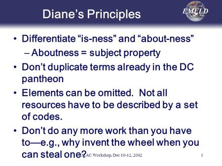 OLAC Workshop, Dec 10-12, 20021 Dianes Principles Differentiate is-ness and about-ness –Aboutness = subject property Dont duplicate terms already in the.