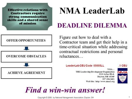 1 NMA LeaderLab DEADLINE DILEMMA OFFER OPPORTUNITIES OVERCOME OBSTACLES ACHIEVE AGREEMENT Figure out how to deal with a Contractor team and get their help.