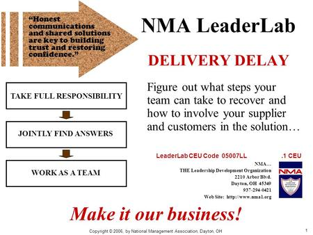 1 NMA LeaderLab DELIVERY DELAY TAKE FULL RESPONSIBILITY JOINTLY FIND ANSWERS WORK AS A TEAM Figure out what steps your team can take to recover and how.