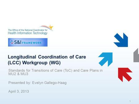 Longitudinal Coordination of Care (LCC) Workgroup (WG) Standards for Transitions of Care (ToC) and Care Plans in MU2 & MU3 Presented by: Evelyn Gallego-Haag.