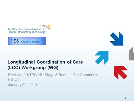 Longitudinal Coordination of Care (LCC) Workgroup (WG) Review of HITPC MU Stage 3 Request For Comments (RFC) January 09, 2013 1.