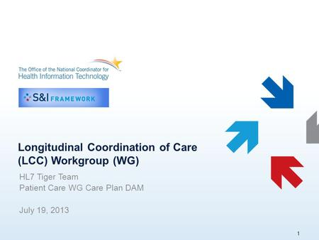 Longitudinal Coordination of Care (LCC) Workgroup (WG) HL7 Tiger Team Patient Care WG Care Plan DAM July 19, 2013 1.