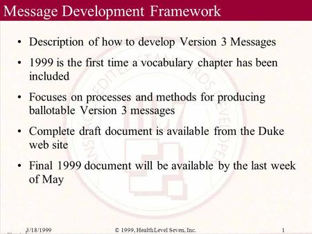 MDF99 Vocabulary Chapter HL7 Working Group Meetings April 26, 1999 Toronto, Canada Stan Huff -