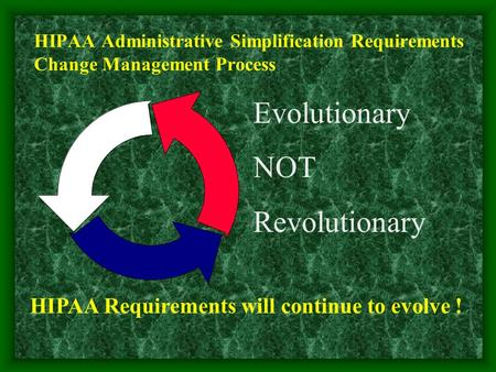 HIPAA Administrative Simplification Requirements Change Management Process Evolutionary NOT Revolutionary HIPAA Requirements will continue to evolve !