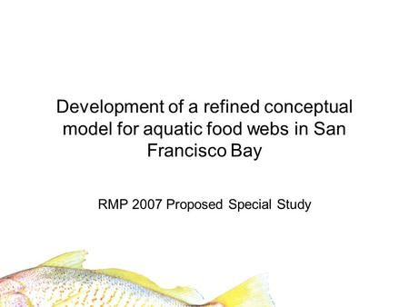 Development of a refined conceptual model for aquatic food webs in San Francisco Bay RMP 2007 Proposed Special Study.