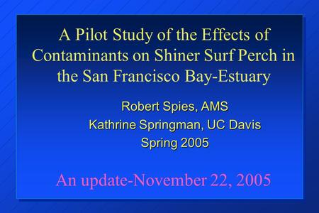 A Pilot Study of the Effects of Contaminants on Shiner Surf Perch in the San Francisco Bay-Estuary An update-November 22, 2005 Robert Spies, AMS Kathrine.
