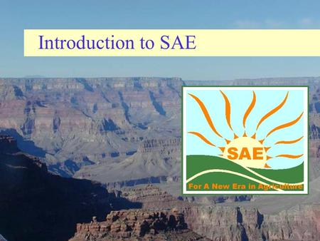 Introduction to SAE.