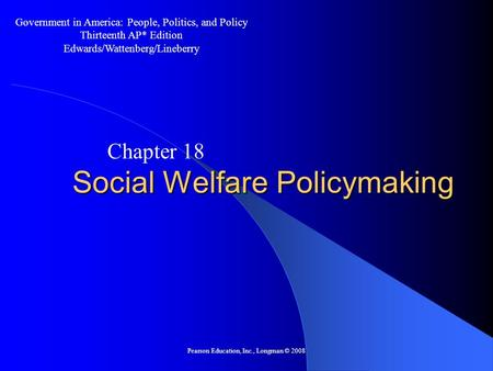 Social Welfare Policymaking