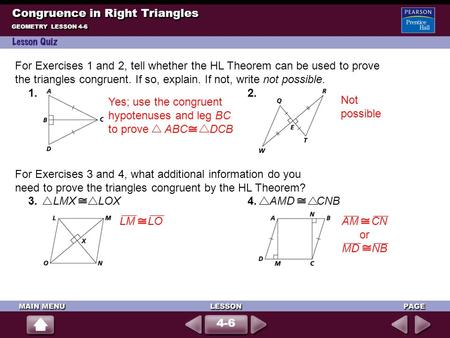 Congruence in Right <strong>Triangles</strong>