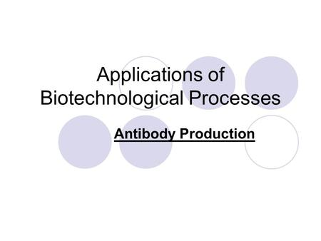 Applications of Biotechnological Processes Antibody Production.