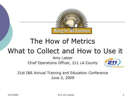 6/3/2009211 LA County1 The How of Metrics What to Collect and How to Use it Amy Latzer Chief Operations Officer, 211 LA County 31st I&R Annual Training.