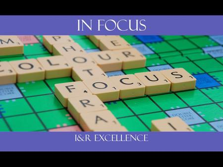 In Focus I&R Excellence. Roadmap to Resources Creating Effective Community Directories.