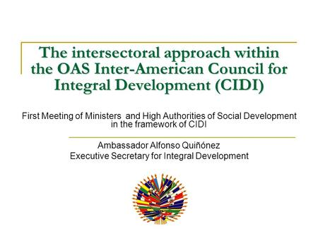 The intersectoral approach within the OAS Inter-American Council for Integral Development (CIDI) First Meeting of Ministers and High Authorities of Social.