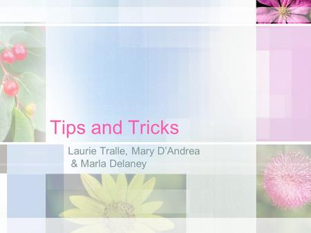 Tips and Tricks Laurie Tralle, Mary DAndrea & Marla Delaney.
