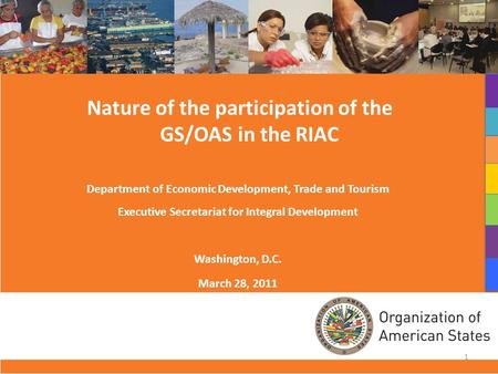 Nature of the participation of the GS/OAS in the RIAC Department of Economic Development, Trade and Tourism Executive Secretariat for Integral Development.