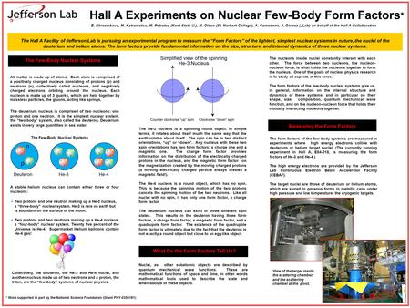 Hall A Experiments on Nuclear Few-Body Form Factors * The Few-Body Nuclear Systems The deuterium nucleus is comprised of two nucleons: one proton and one.